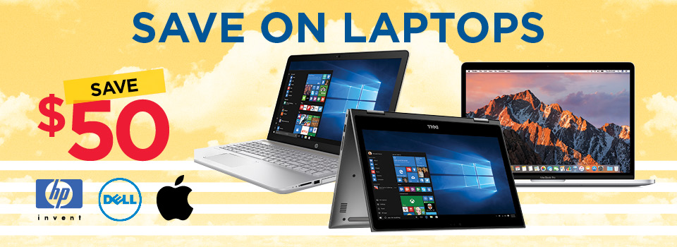 Save on Laptops from Dell, HP and Apple