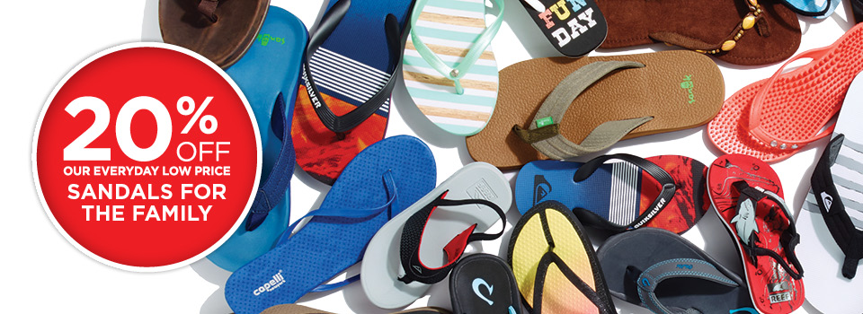 20% Off Sandals for the Family