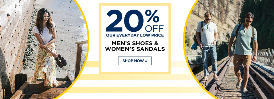 20% Off Men's Shoes and Women's Sandals