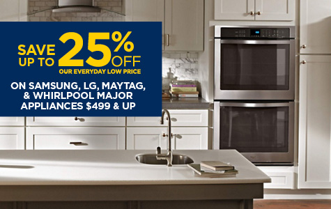Save 25% On Select Major Appliances from Samsung, Whirlpool, Maytag and LG