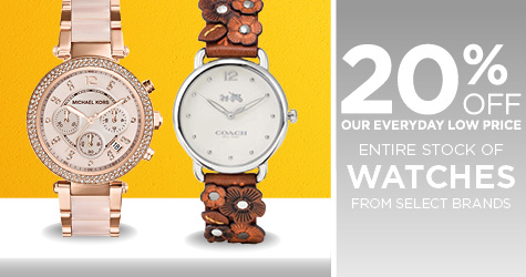 20% Off Entire Stock of Watches from Select Brands