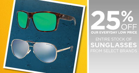 25% Off Entire Stock of Sunglasses from Select Brands