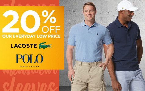 20% Off Men's Polo Ralph Lauren and Lacoste