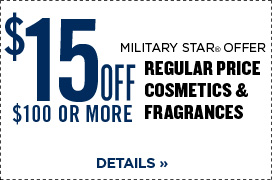 $15 Off $100 or More Regular Price Cosmetics
