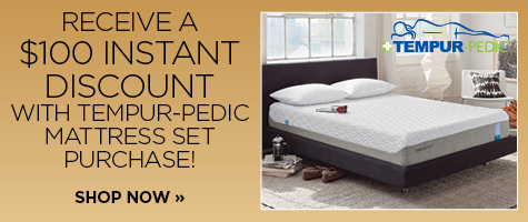$100 instant discount with Tempur-Pedic mattress set purchase