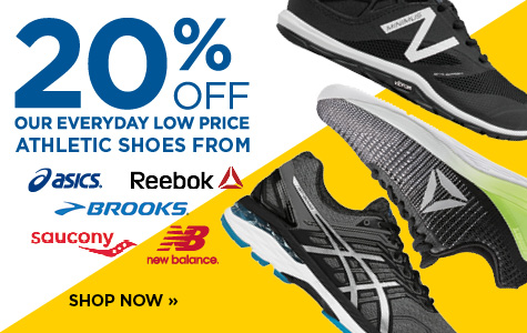 20% off athletic shoes from Asics, Brooks, New Balance, Saucony and Reebok