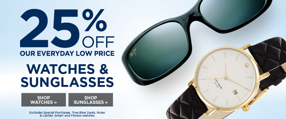 25% off all watches and sunglasses