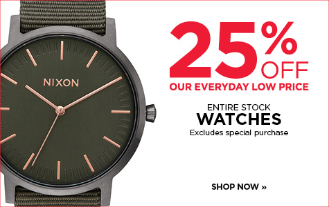 25% off entire stock of watches