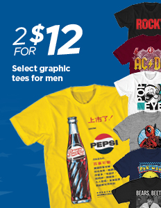TBD 2 for 12 Select Graphic Tees for Men