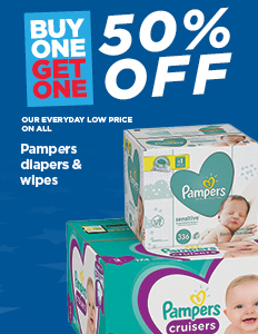 Buy One Get One 50% Off Pampers & Diapers Wipes