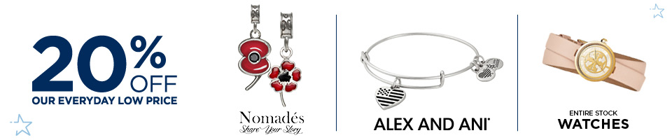 20% Off Nomades, Alex & Ani and Entire Stock of Watches