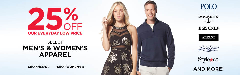 25% off Select Men's and Women's Apparel