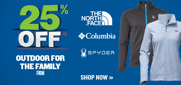 25% OFF COLUMBIA, TNF, SPYDER