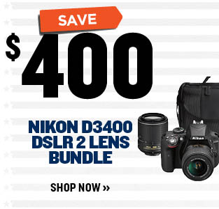 SAVE $400 on Nikon D3400 DSLR 2 Lens Bundle