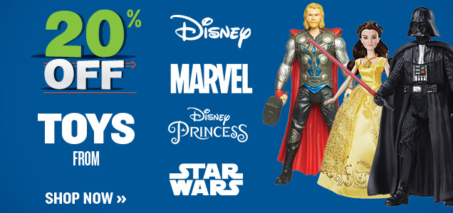 20% OFF TOYS FROM DISNEY, DISNEY PRINCESS, MARVEL, STAR WARS
