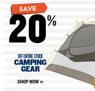 20% OFF CAMPING GEAR