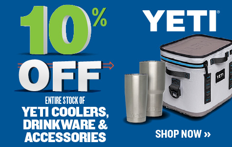 10% OFF ENTIRE STOCK OF YETI COOLERS, DRINKWARE & ACCESSORIES