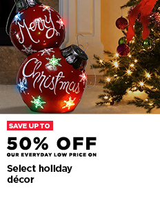Up to 50% off select holiday décor