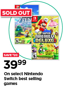 Save $20 $39.99 on select Nintendo Switch best selling games