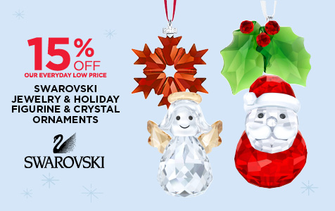 15% off Swarovski Jewelry, Holiday Figurines and Crystal Ornaments