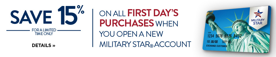 Get 15% off with a New Military Star Card accounts