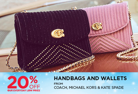 20% Off Handbags & wallets from Coach, Michael Kors and Kate Spade