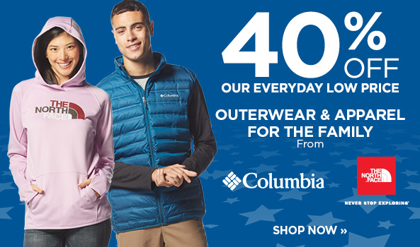 40% OFF THE NORTH FACE & COLUMBIA