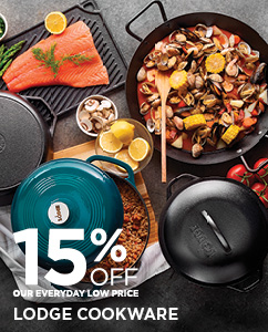 15% off Lodge cookware