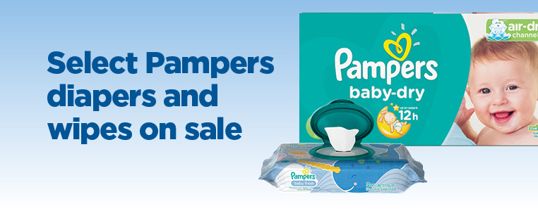 Select Pampers Diapers and Wipes On Sale