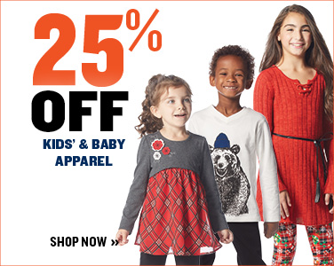 25% OFF KIDS' & BABY APPAREL