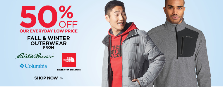 50% Off Select Outerwear from The North Face, Columbia and Eddie Bauer