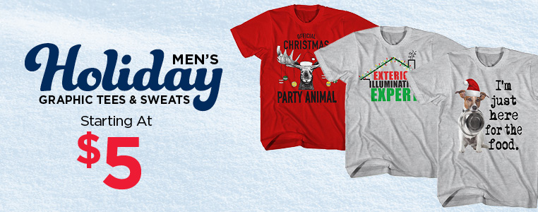 Men's Holiday Graphic Tees and Sweats starting at $5