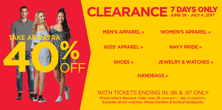 Take an extra 40% off clearance during this 7 Day Clearance Event