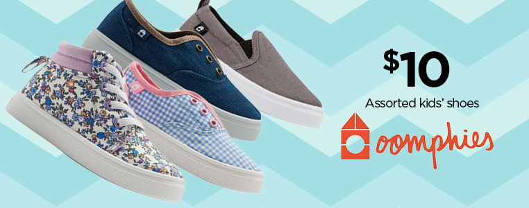 $10 ASSORTED KIDS SHOES FROM OOMPHIES