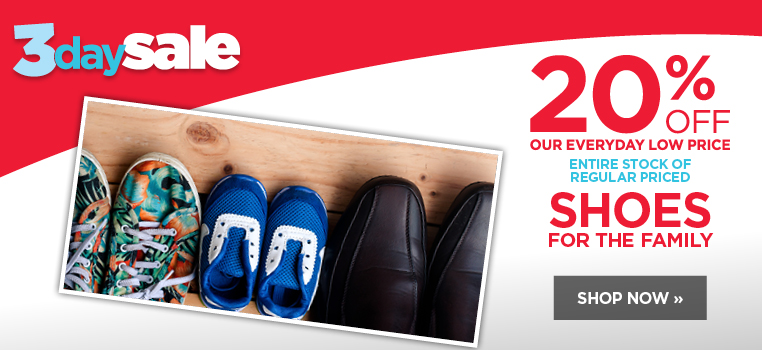 20% off all regular priced shoes for the family