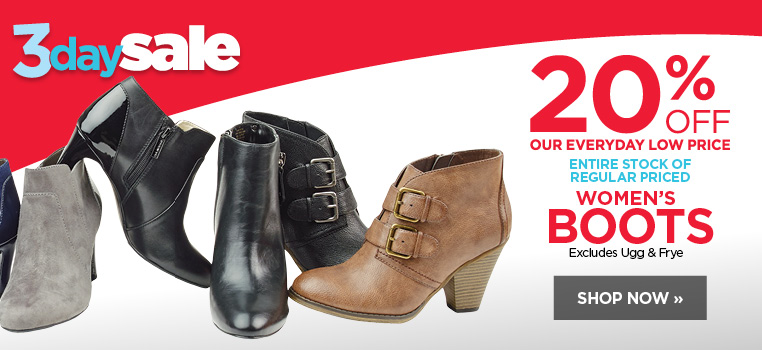 20% off entire stock of women's boots