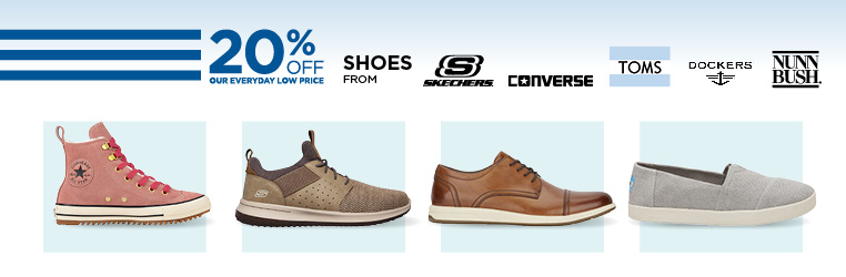 20% Off Shoes from Converse, Skechers, Nunn Bush, Dockers, Toms