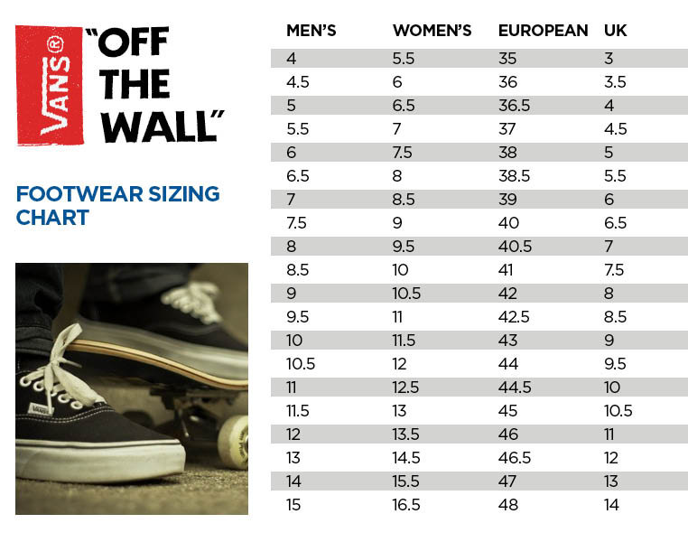 vans infant shoe size chart