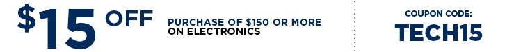 Save $15 Off Your Electronics Purchase of $150 or More