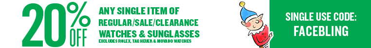 20% off Any Single Item in Watches and Sunglasses