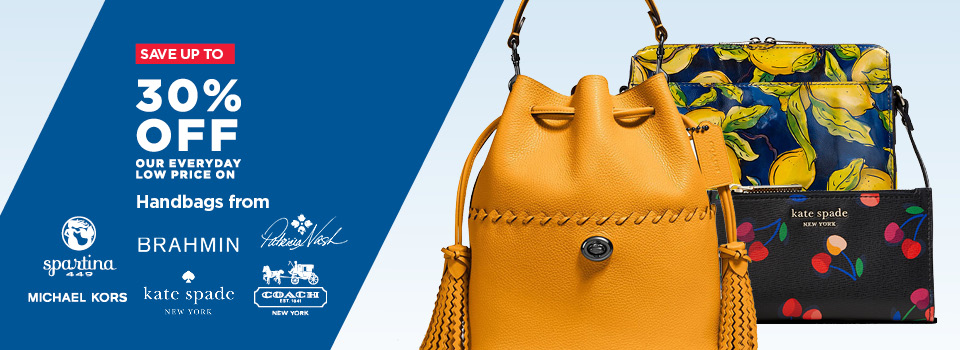 Up to 30% off Handbags from Spartina, Brahmin, Kate Spade, Patricia Nash, Coach, Michael Kors