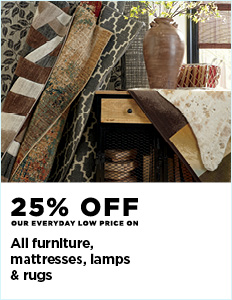 25% off all furniture, mattresses, lamps & rugs