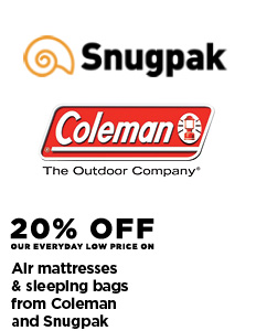 20% Off Air Mattresses & Sleeping Bags from Coleman and Snugpak
