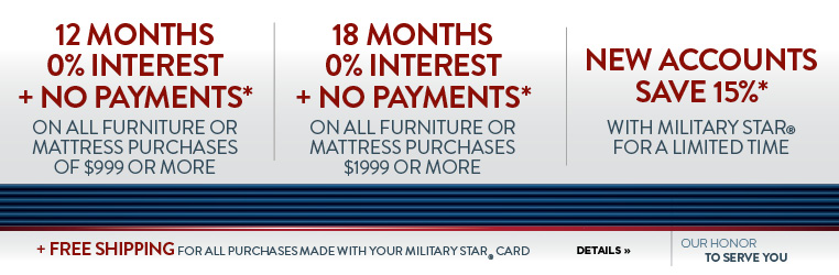0% interest with military star card