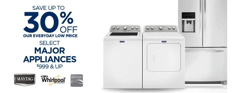 Save Up To 30% Off Select Major Appliances $499 & Up