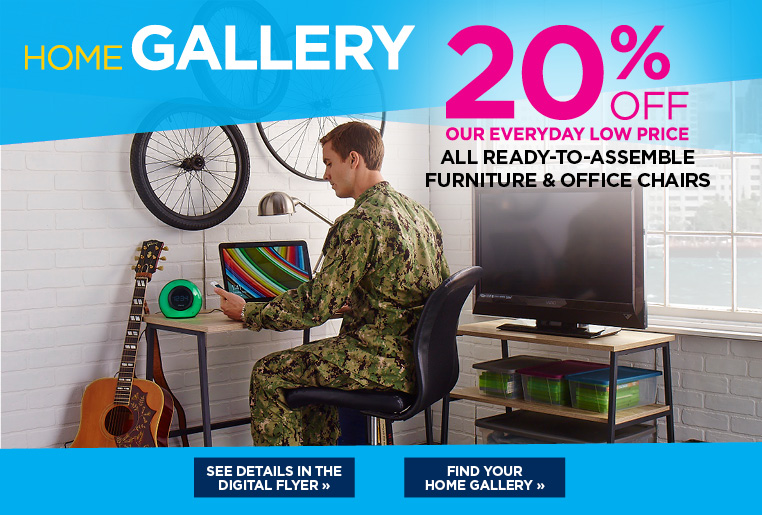 20% off office chairs and ready-to-assemble furniture