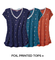 Yarn and Sea Printed Foil Tops