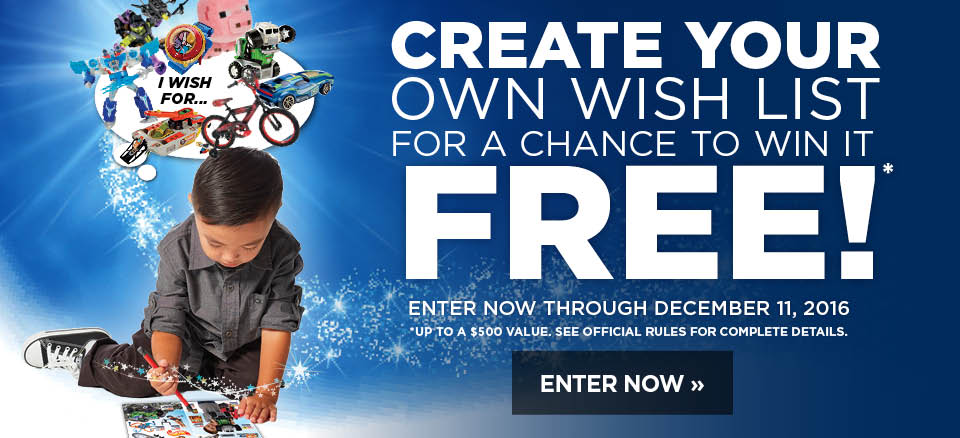Create a wish list and enter to win it free!