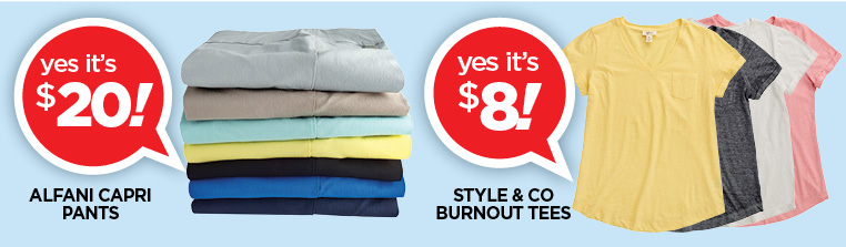 Alfani capris and Style and Co burnout tees on sale
