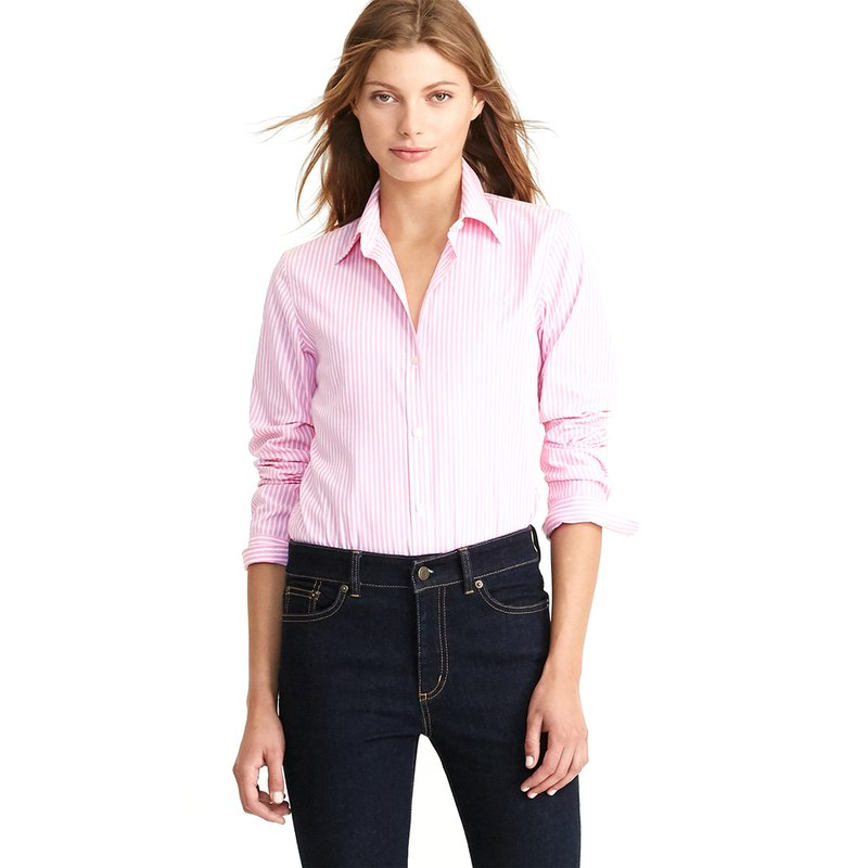 cfbe5b158 Lauren Ralph Lauren. Lauren Ralph Lauren Women's Long Sleeve Aaron No Iron  Striped Shirt ...